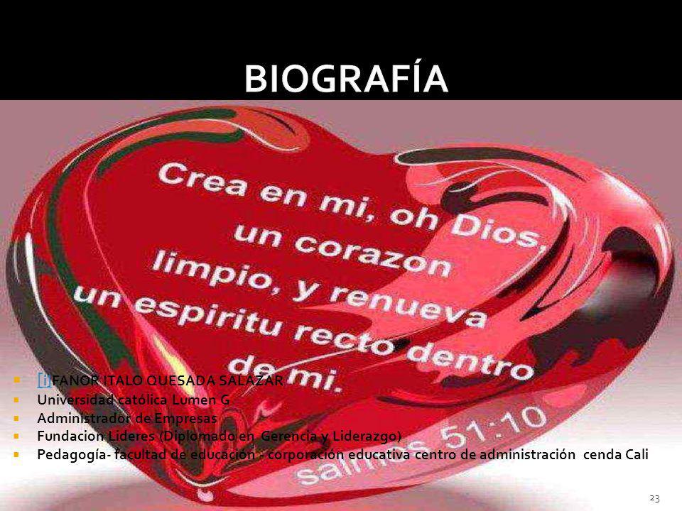 BIOGRAFÍA [i]FANOR ITALO QUESADA SALAZAR Universidad católica Lumen G